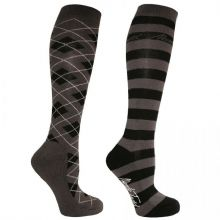 MARK TODD LONG ARGYLE/STRIPE SOCKS - GREY/BLACK - RRP £12.99